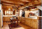 Cucina in una casa di legno - un design moderno al cottage