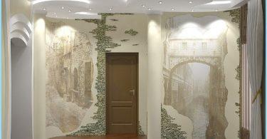 Design e decorazione del salone d'ingresso con pietra decorativa